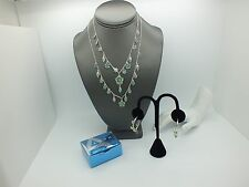 AVON 2007  DEMI PARURE BLUE GREEN ENAMEL FLOWER NECKLACE AND HOOP STYLE EARRINGS