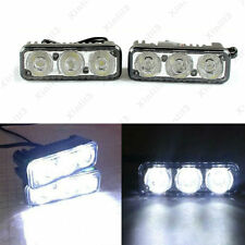 2x 3-LED White High Power Car Daytime Driving Light Fog Lamp 12V Distance Light