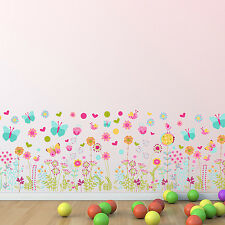 Wall Sticker Kids Colourful Butterflies and Flowers Skirting