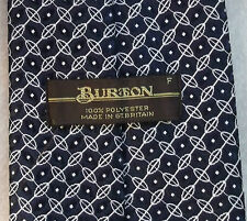 BURTON VINTAGE WIDE TIE RETRO 1970s 1980s MOD DARK NAVY BLUE WHITE PATTERNED