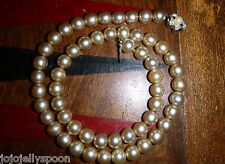 VINTAGE FAUX PEARL BEAD  CHOKER NECKLACE COSTUME JEWELLERY