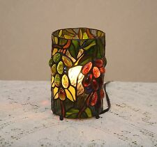 Stained Glass Tiffany Style Grape Vine Round Desktop Night Light Table Lamp.