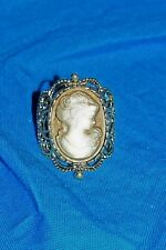 Womens Cameo Ring Adjustable Size Small Medium Large Ladies Girls Finger Carving