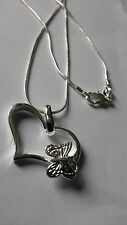 2 x SILVER PLATED BUTTERFLY  HEART PENDANT CHAIN NECKLACE