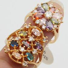 Wholesale Charms Rings 2Pcs/lots Gold Filled Colorful Cubic Zircon Rings Size 9