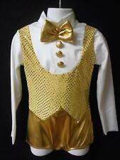 NEW!  HOLIDAY GOLD DANCE JAZZ TAP THEATER COSTUME ~ SMALL CHILD