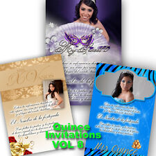 PSD Photoshop Template for Quinceaneras & Sweet 16 Invitations Vol. 8