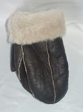 NEW HANDMADE Brown REAL SHEARLING SHEEPSKIN MITTENS MITTS GLOVES  SIZE S