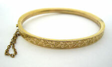 Victorian Rolled Gold Ivy Leaf Hinged Bracelet with Safety Chain