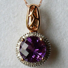 Genuine Amethyst & Diamond Halo Pendant Necklace 10k Rose Gold - Gift Boxed
