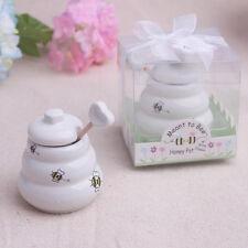 Barattolo porta miele ceramica con cucchiaio dosatore in legno regalo bomboniera