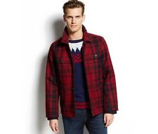 $199 NWT TOMMY HILFIGER MEN'S WOOL SPORTY JACKET COAT RED NAVY PLAID MEDIUM M
