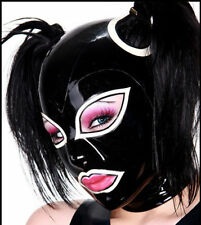 latex Rubber Mask Unique Black and White Hood Fashion Maske Sizes:XS-XXL