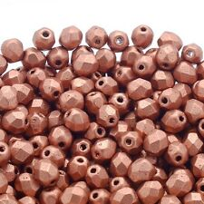 4mm Czech Faceted Round Glass Bead - Matte Metallic Copper - 50pk