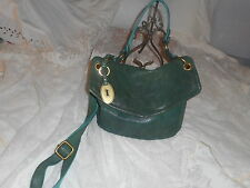 FOSSIL Long Live Vintage  green   leather  slouchy shoulder  bag  , distressed