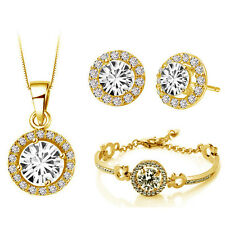 Yellow Gold Jewellery Set White Diamante Stud Earrings Necklace, Bracelet S673