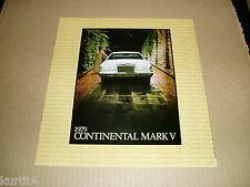 1979 Lincoln Mark V Continental DELUXE sales brochure dealer catalog literature