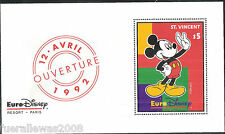 WALT DISNEY Saint Vincent Grenadine MiNr. 2110 ** EURO DISNEY 1992 in blocco 226