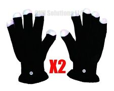 2 Pair RGB LED Black Gloves Muiticolor Colors Light Show Glove