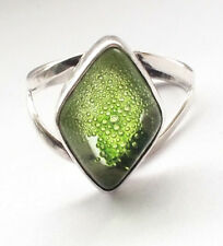 Vintage 925 Sterling Silver Green Gem Stone Ring Solid Retro Resin Bakelite