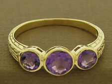 R076- Lovely GENUINE 9K 9ct Solid Gold NATURAL Amethyst Trilogy Etched Ring sz N