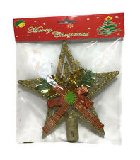 Christmas Festive Star Shaped With Glitter Shiny Tree Ornaments Topper