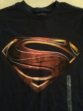 Man Of Steel Superman 100% Cotton Men's Black T-Shirt Size Small New!