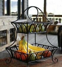 2-Tier Fruit Bowl Large Basket Wrought Iron Kitchen Centerpiece Decorative New