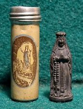 Old METAL POCKET SHRINE FROM LOURDES w/ STATUE OUR LADY OF LOURDES
