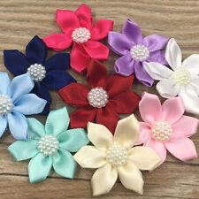 Upick 20pcs Ribbon Flowers Bows W/Rhinestone Appliques Wedding 1 1/2'' B324
