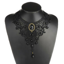 Gothic Women Victorian Lace & Beads Choker Statement Collar Necklace Black Gift