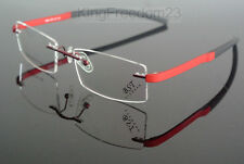 New TR-90 Eyeglass Frame Red Black Flexible Rimless Hinged Glass Spectacles Rx