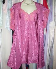 VTG Vintage ORCHID PURPLE Nightgown Slip Nightie Chemise Robe Set LUCIE ANN! M L