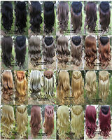 """3/4 Fall Half Wig Clip In on Hair Piece Long Wigs Wavy Curly 22"""" 200g Synthetic"""
