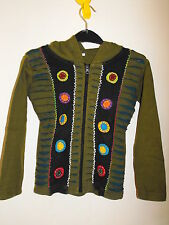 Children boy girl hippie festival Nepal razor cut pixie hood jacket small NEW
