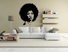 Wall Vinyl Sticker Room Decal Mural Design Hair Style Salon Afro Woman bo1467