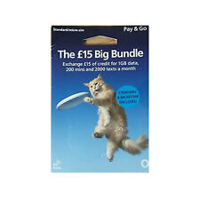 O2 PAYG £ 15 Big Bundle Sim Pack Trio