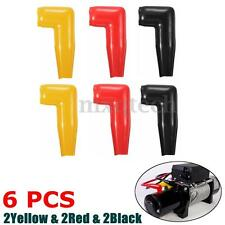 6pc Electric Guard Motor Winch Cable Terminal Boot Rubber Cover Black+Red+Yellow