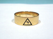 SOLID 14K GOLD MASONIC SCOTTISH RITE YOD BAND RING ~ SIZE 11 1/4