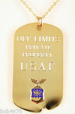 Vintage OFF LIMITS PRIVATE PROPERTY U.S.A.F. Dog Tag Necklace Air Force Emblem