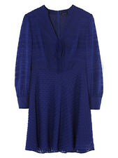 Karen Millen Blue Devore Lace Up Shift Shirt Casual Mini Swing Dress 10 38 New