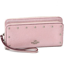 NWT Coach Studded Caviar Leather Double Accordion Zip Wallet 53146 SV/TubeRose