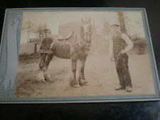 Cdv cabinet photograph farmer workman with horse by McManus at Dundee c1890s