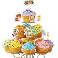 24pcs Jungle Animal Cupcake Toppers Picks Birthday Party Decor Kids Baby Shower