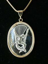 Vintage Frosted Glass Fairy Intaglio Cameo Double Chain Pendant Necklace
