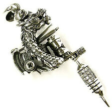 DRAGON TATTOO MACHINE GUN MINIATURE STERLING 925 SILVER PENDANT