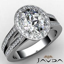 Halo Oval Diamond Split Shank Engagement Ring GIA F VS2 18k White Gold 2.44ct