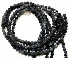 6MM Frost Crackle Natural Agate Black Round Gemstone Beads 14''