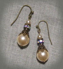 BRASS FILILGREE GLASS CREAM PEARL AB CRYSTAL EARRINGS VICTORIAN EDWARDIAN DECO