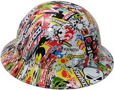 New! Hydro Dipped FULL BRIM Hard Hat w/ Ratchet Suspension - Sticker Bomb